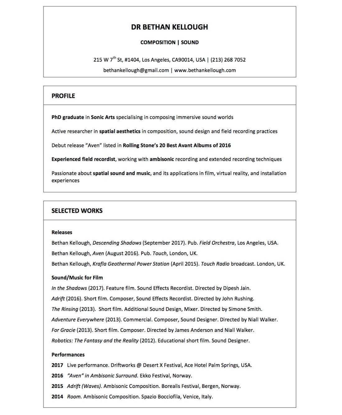 Curriculum Vitae_Dr Bethan Kellough_Composer