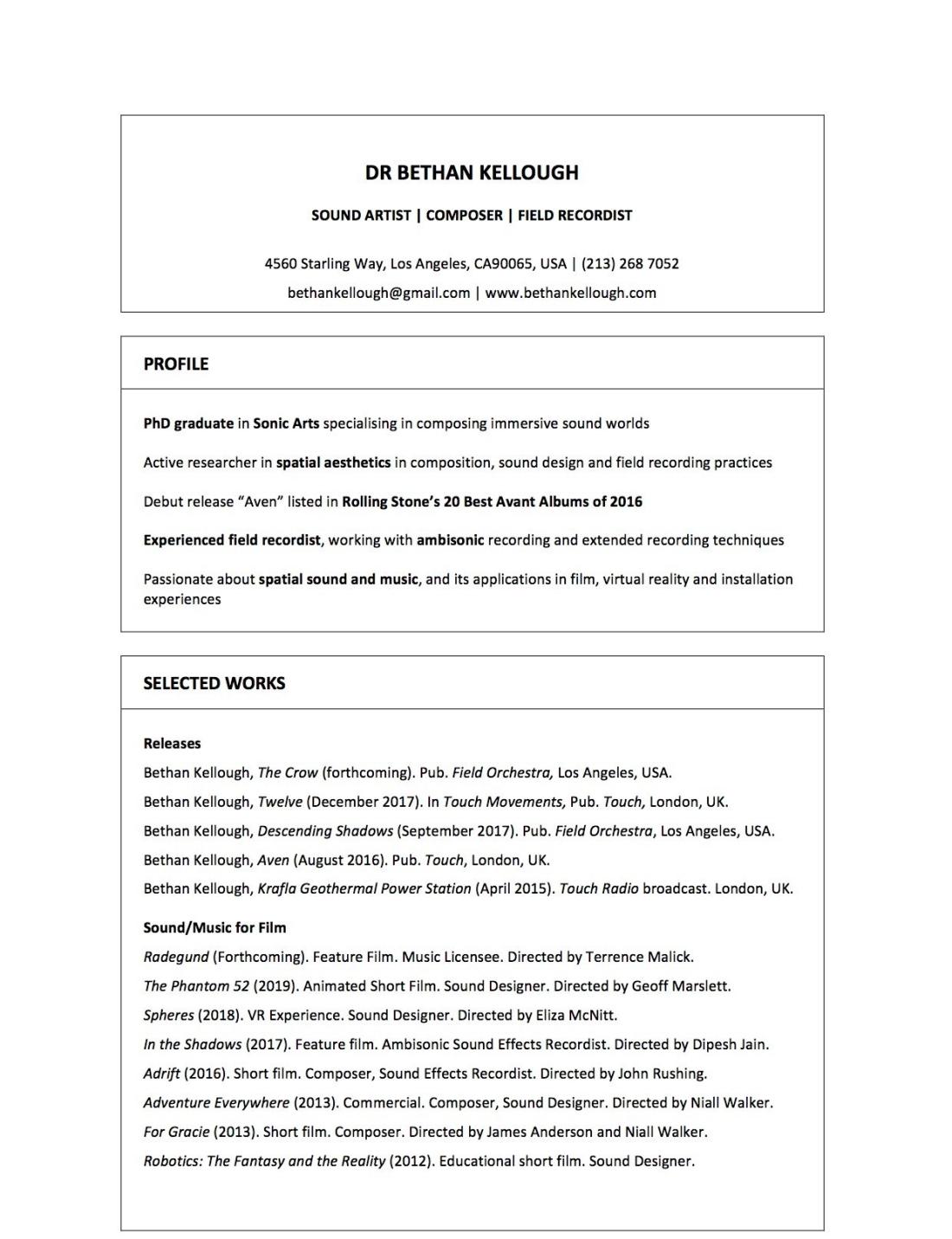 Curriculum Vitae Bethan Kellough
